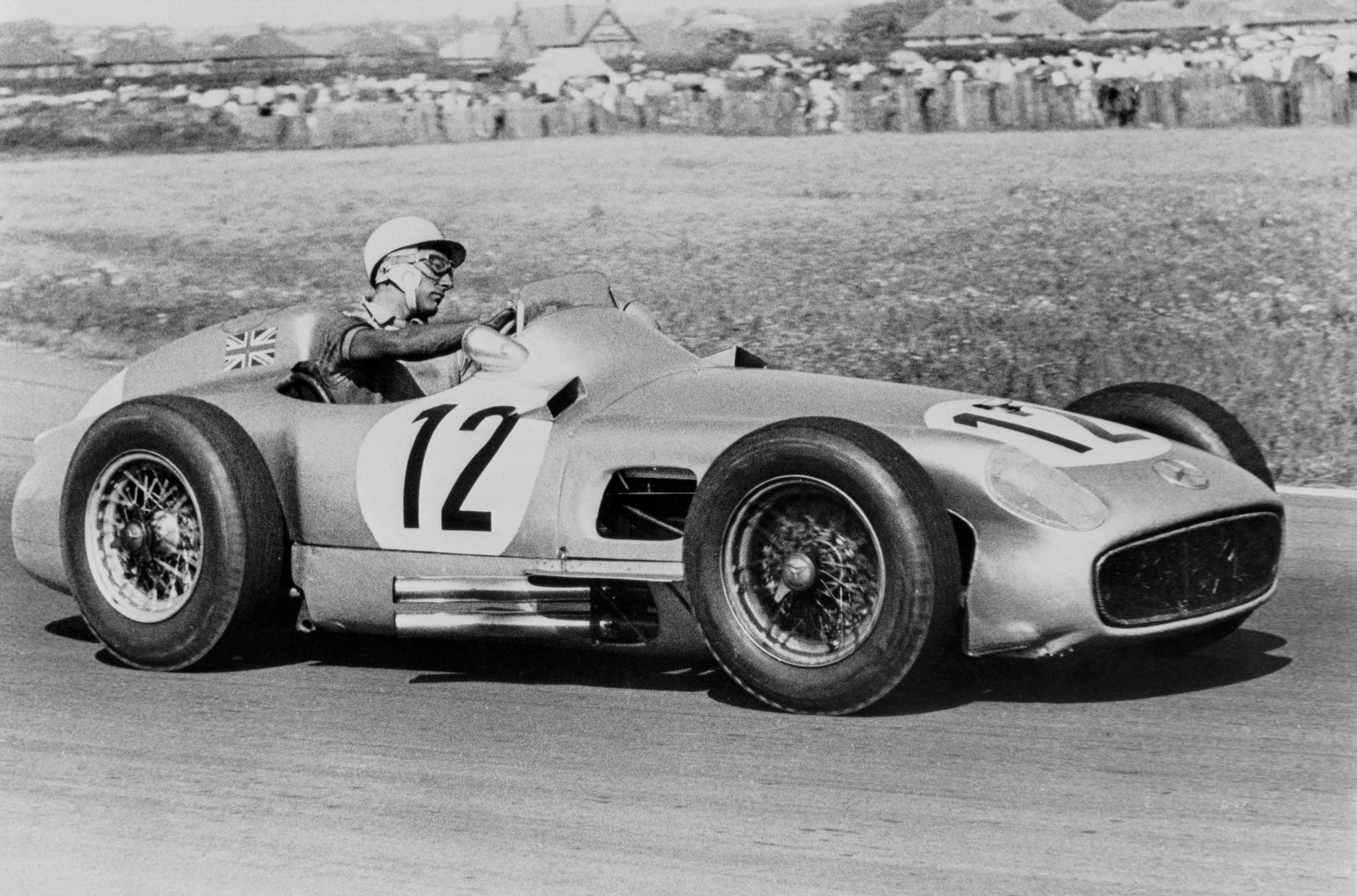 Großer Preis von Großbritannien in Aintree am 16. Juli 1955: Stirling MossBritish Grand Prix in Aintree on 16 July 1955: Stirling Moss