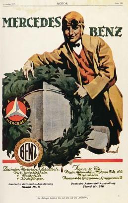 Werbeanzeige mit den Markenzeichen der Daimler-Motoren-Gesellschaft und Benz & Cie. aus dem Jahr 1925 – dem Jahr vor der Fusion beider Unternehmen zur Daimler-Benz AG.