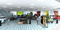 """Mercedes-Benz Museum, Sonderausstellung """"G-Schichten"""" zur G-Klasse 18. Oktober 2019 bis 19. April 2020. Computerrendering der Ausstellungskonzeption."""
