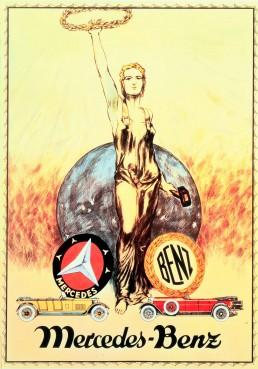 Gemeinsame Stärke: Werbeplakat aus dem Jahr 1926 zur Fusion von Daimler und Benz. Es zeigt den Dreizackstern von Mercedes und den Lorbeerkranz von Benz.
