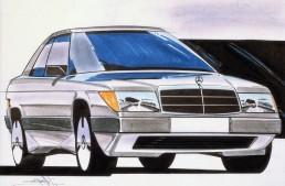 Designzeichnung aus dem Entwicklungsprozess der Mercedes-Benz Baureihe 124. Reproduktion aus dem Jahr 1984.