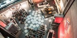 Mercedes-Benz Museum, Atrium. Foto vom Konzert des Gershwin Piano Quartets, 2016.