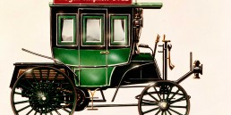 Benz Motoromnibus auf Basis des Benz Landauers mit acht Sitzen, ausgeliefert am 12. März 1895 an die Netphener Omnibus-Gesellschaft für den Liniendienst auf der Strecke Siegen–Netphen–Deuz. Farbige Zeichnung aus den 1980er-Jahren.