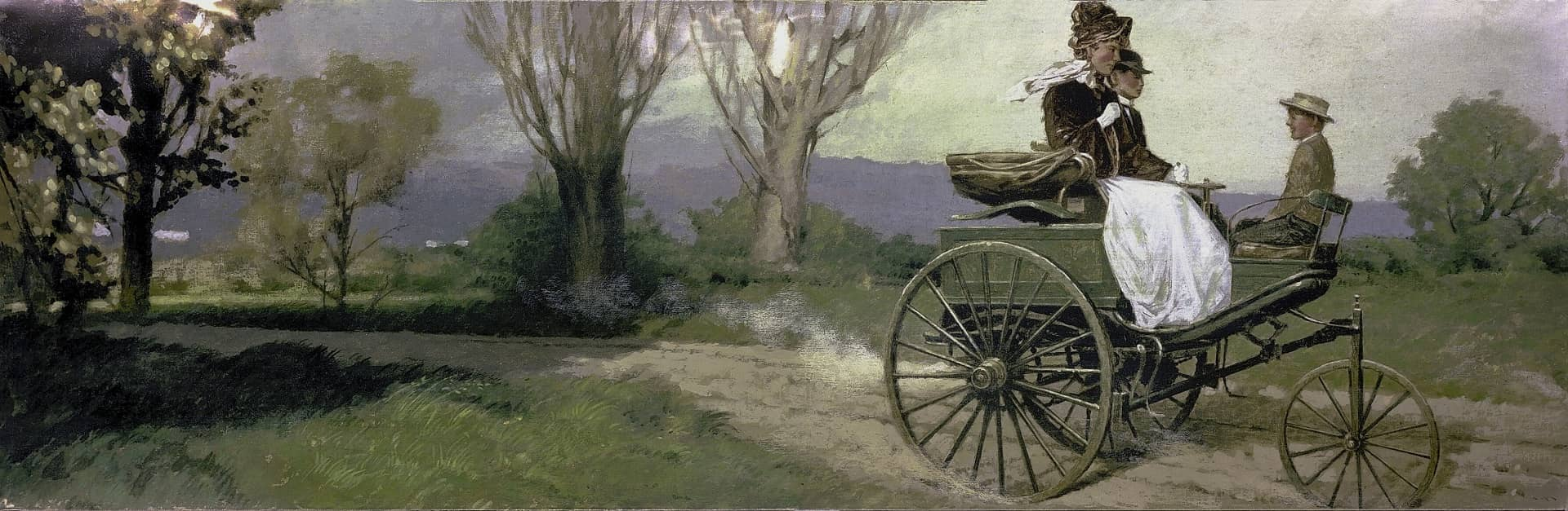 Bilder Benz Patent-Motorwagen, Fernfahrt von Mannheim nach Pforzheim von Bertha Benz mit ihren Söhnen Eugen und Richard im August 1888. Illustration.