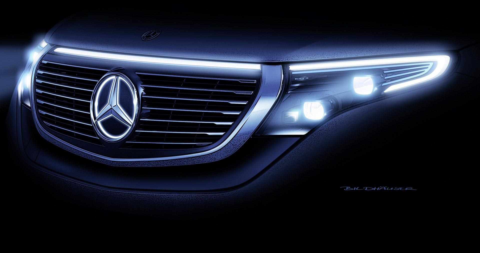 Der neue Mercedes-Benz ECQ, Exterieur, Designskizze, Front-Scheinwerfer