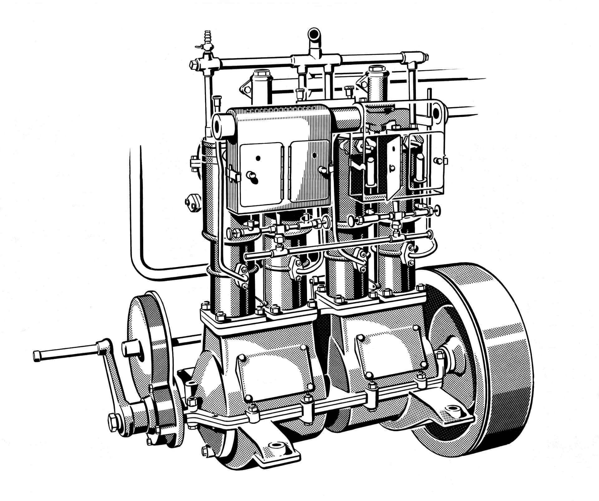 Erster Vierzylinder-Benzinmotor, ein Bootsmotor. Das erste Exemplar liefert die Daimler-Motoren-Gesellschaft am 21. August 1890 nach New York aus. Konstruiert hat ihn Wilhelm Maybach. Zu den technischen Details gehören unter anderem eine dreifach gelagerte und vierfach gekröpfte Kurbelwelle, die Ventilsteuerung über eine Nockenwelle, hängende Auslassventile sowie eine effektive Zylinderkühlung über Wassermäntel. Zeichnung. First four-cylinder petrol engine, a marine engine. Daimler-Motoren-Gesellschaft delivered the first of these cars to New York on 21 August 1890. It had been designed by Wilhelm Maybach. The technical refinements included a three-bearing, four-throw crankshaft, valve train via a camshaft, overhead exhaust valves and effective cylinder cooling using water jackets. Illustration.