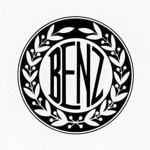 """Der von einem Lorbeerkranz umfasste Schriftzug """"Benz"""", am 6. August 1909 von Benz & Cie. als Markenzeichen beim Kaiserlichen Patentamt angemeldet."""