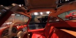 """Standbild aus dem neuen Drohnenfilm des Mercedes-Benz Museums, Mai 2020. Flug durchs Innere des Mercedes-Benz 300 SL """"Gullwing"""" (W 198) im Raum Mythos 4: Wunderjahre – Form und Vielfalt, 1945 bis 1960."""