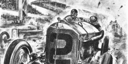 500-Meilen-Rennen in Indianapolis, 31. Mai 1915. Der spätere Sieger Ralph DePalma mit seinem Mercedes Grand-Prix-Rennwagen. Zeichnung von Hans Liska.