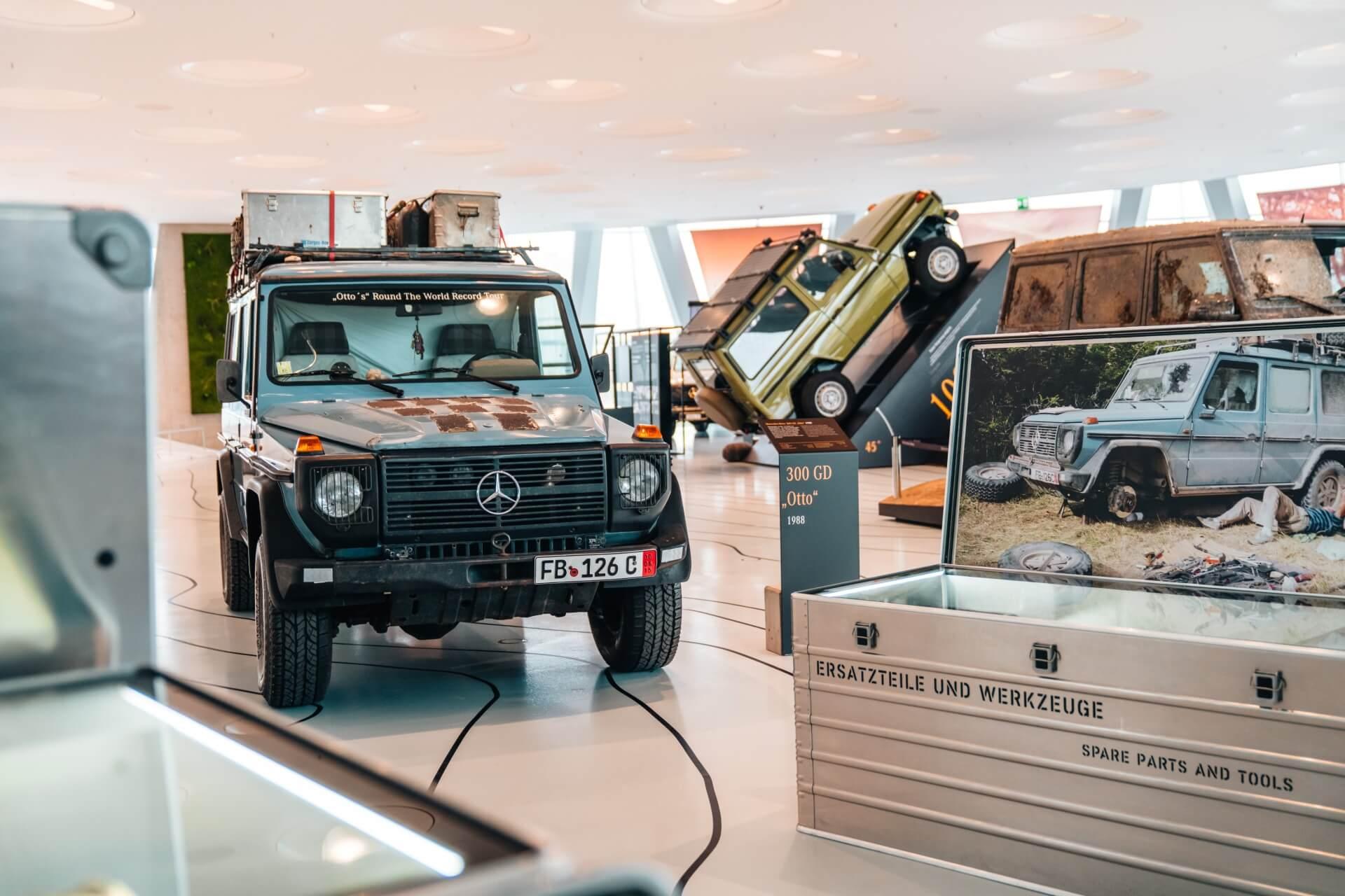 """Die Sonderausstellung """"G-Schichten. 40 Jahre G-Klasse ist bis Ende September 2020 im Mercedes-Benz Museum zu sehen."""