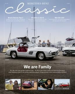 Mercedes-Benz Classic Magazin 1/2020, Titelseitenfoto der deutschen Ausgabe.