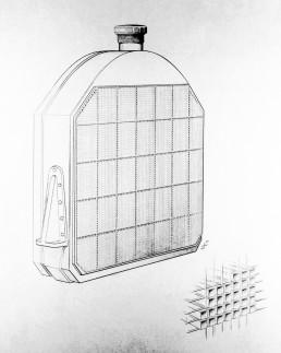Wilhelm Maybach entwickelten Bienenwabenkühlers, der zum ersten Mal im Mercedes 35 PS zum Einsatz kommt. Die Leistungssteigerung gegenüber den Vorgängertypen wird zum Teil erst durch den besonders effizienten Bienenwabenkühler ermöglicht. Die hier abgebildete oben abgerundete Kühlerform entspricht der ab 1903 verwendeten Ausführung.