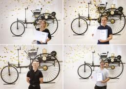 Melissa Urbaczka, Tim Sczepanek, Paul Eisenhard und Ralph Hönninger (von oben links nach unten rechts) gehören zu den Besten: Sie haben ihre Ausbildung im Mercedes-Benz Motorenwerk bzw. im Daimler Buses Werk Mannheim absolviert und ihre Abschlussprüfungen in den jeweiligen Ausbildungsberufen als Prüfungsbeste bestanden.
