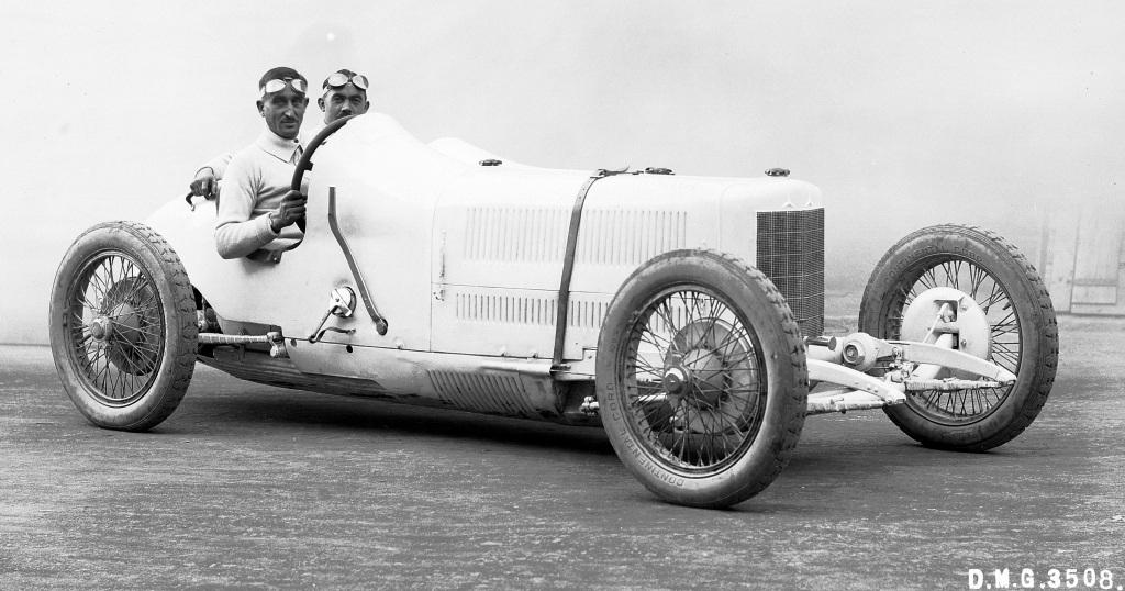 """Mercedes 2-Liter-Achtzylinder-Rennwagen """"Monza"""", 1924. Christian Werner mit Beifahrer Wilhelm Traub."""