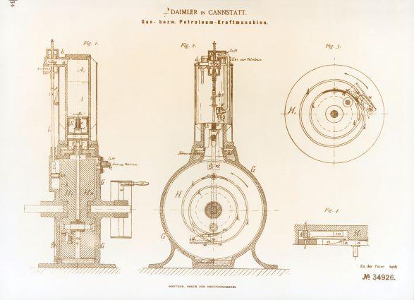 """Zeichnungen der schnell laufenden """"Gas- beziehungsweise Petroleum-Kraftmaschine"""" mit stehendem Zylinder von Gottlieb Daimler und Wilhelm Maybach."""