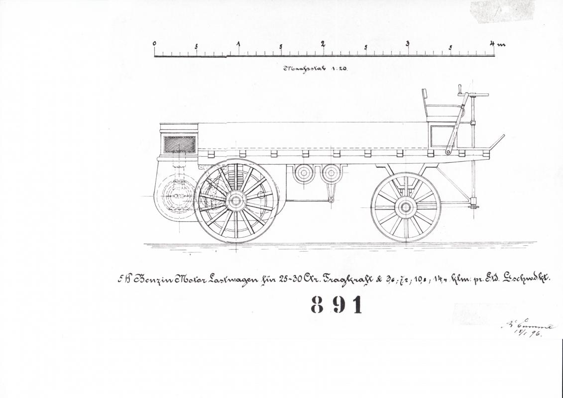 Schemazeichnung Daimler-Lkw von 1896