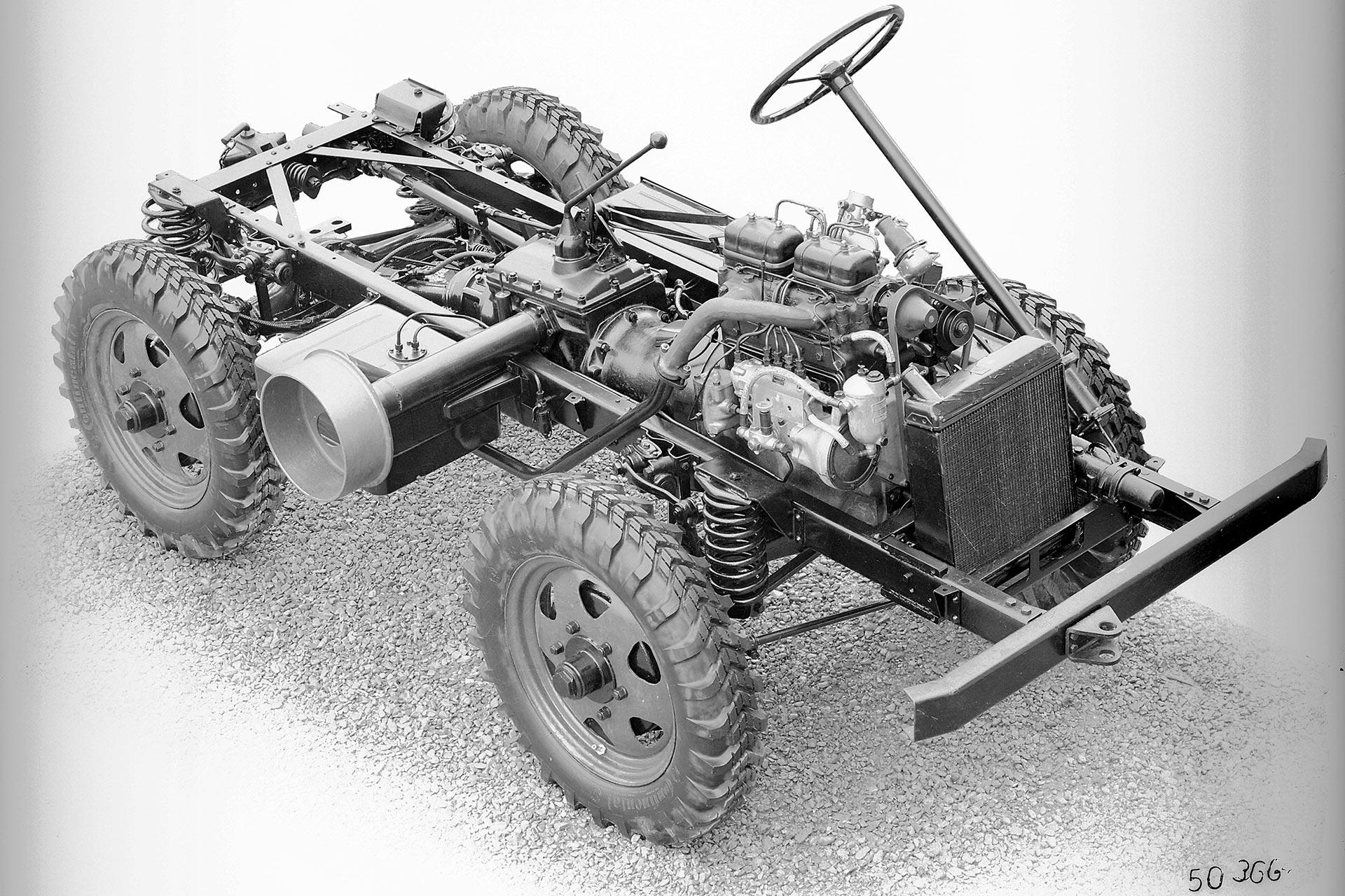 Unverwüstlich: Unimog-Fahrgestell aus dem Jahr 1949 mit Dieselmotor.