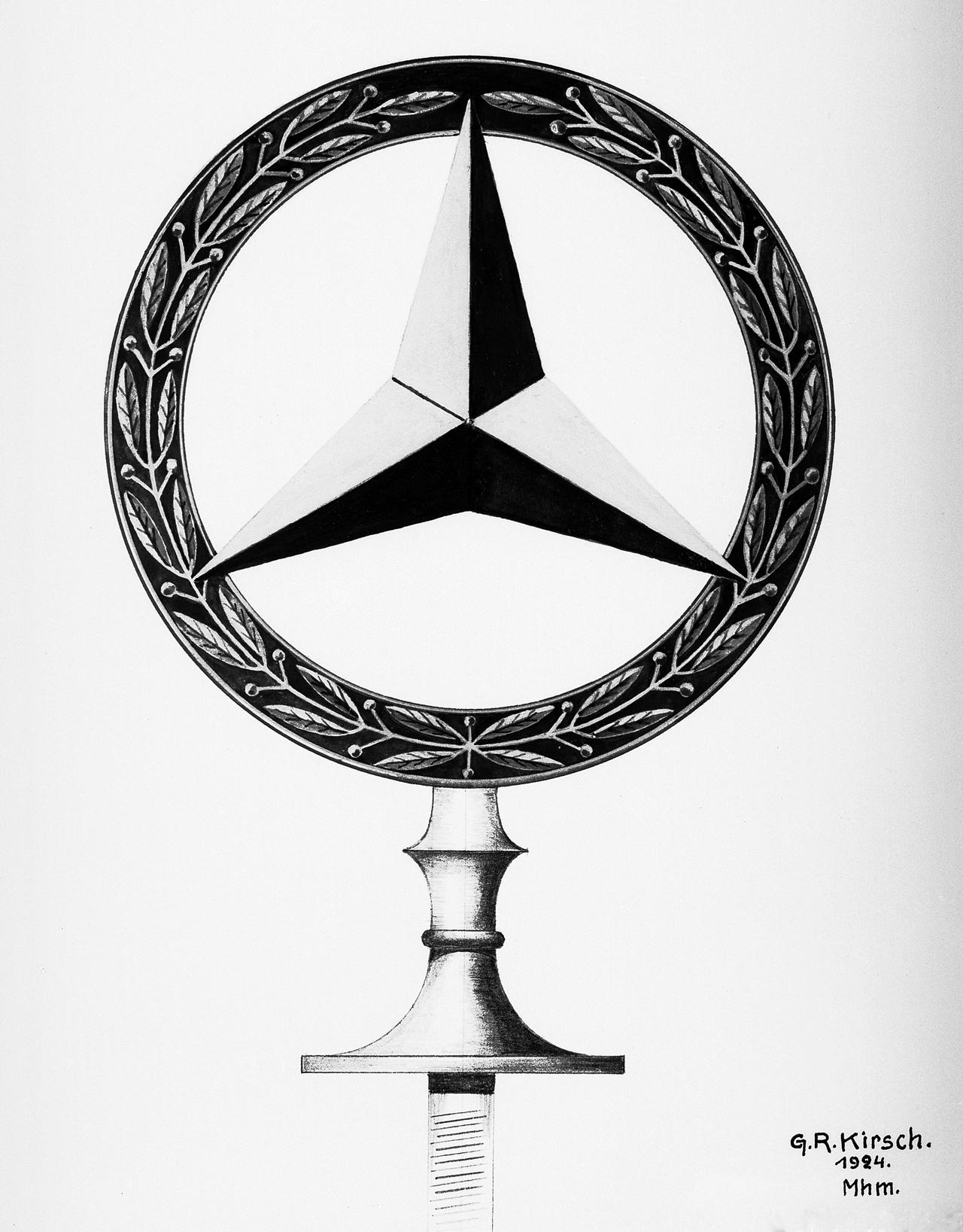 Der Mercedes-Stern im Lorbeerkranz, eine Kombination der Markenzeichen der Daimler-Motoren-Gesellschaft und der Firma Benz & Cie., wurde beim Patentamt am 18. Februar 1925 als Warenzeichen angemeldet.