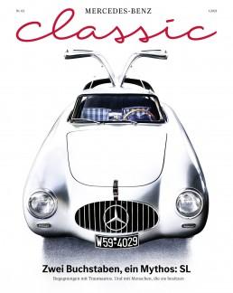 Mercedes-Benz Classic Magazin 1/2021, Titelseite der deutschsprachigen Ausgabe.