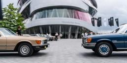 """Automobile Sommertreffs """"Classics & Coffee"""" sowie """"Sterne unterm Stern"""" am Mercedes-Benz Museum von Juni bis Oktober 2021. Foto der Veranstaltung unter dem früheren Namen """"Cars & Coffee"""" am 17. Juni 2018."""