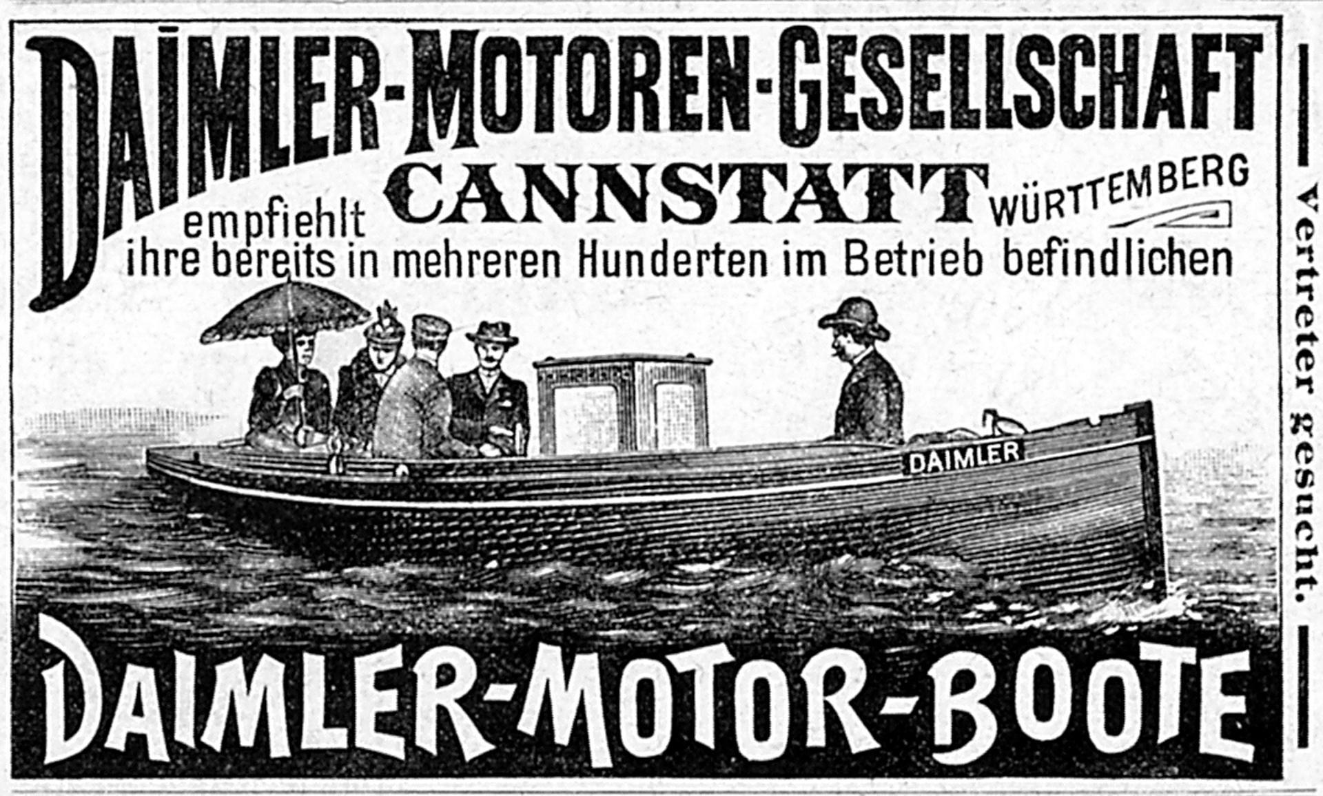 """Werbeanzeige der Daimler-Motoren-Gesellschaft aus dem Jahr 1894 für """"ihre bereits in mehreren Hunderten im Betrieb befindlichen Daimler-Motor-Boote"""", erschienen in der humoristischen illustrierten Wochenschrift """"Fliegende Blätter""""."""